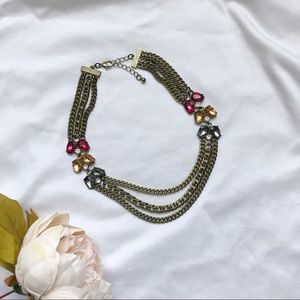 Bronze multilayered crystal jewel tone necklace